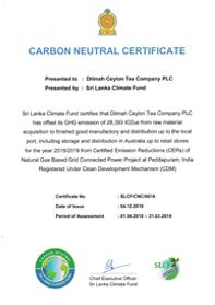 CO2 neutraal certificering voor Dilmah
